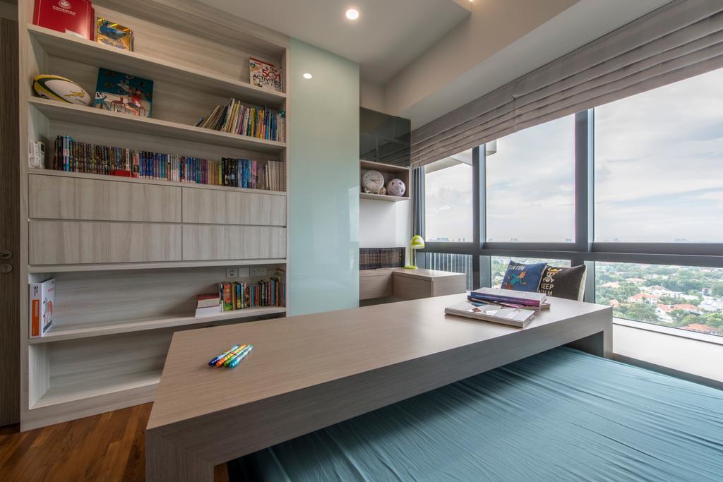 Scandinavian, Condo, Bedroom, D'Leedon, Interior Designer, Arc Square, Bookshelf, Books, Bookcase, Shelves, Shelf, Blinds, Natural Lighting, Window, Storage Space