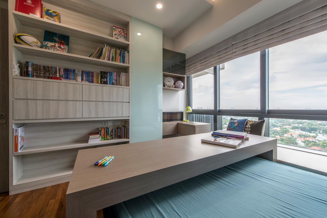 D'Leedon, Arc Square, Scandinavian, Bedroom, Condo, Bookshelf, Books, Bookcase, Shelves, Shelf, Blinds, Natural Lighting, Window, Storage Space