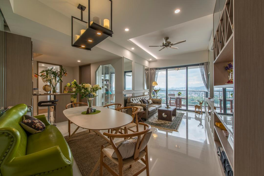 D'Leedon, Arc Square, Scandinavian, Dining Room, Condo, Dining Table, Dining Chairs, Green Sofa, Hanging Lamp, Natural Lighting, Bright, Carpet, Small Carpet, Downlight, False Ceiling, Vase, Plants