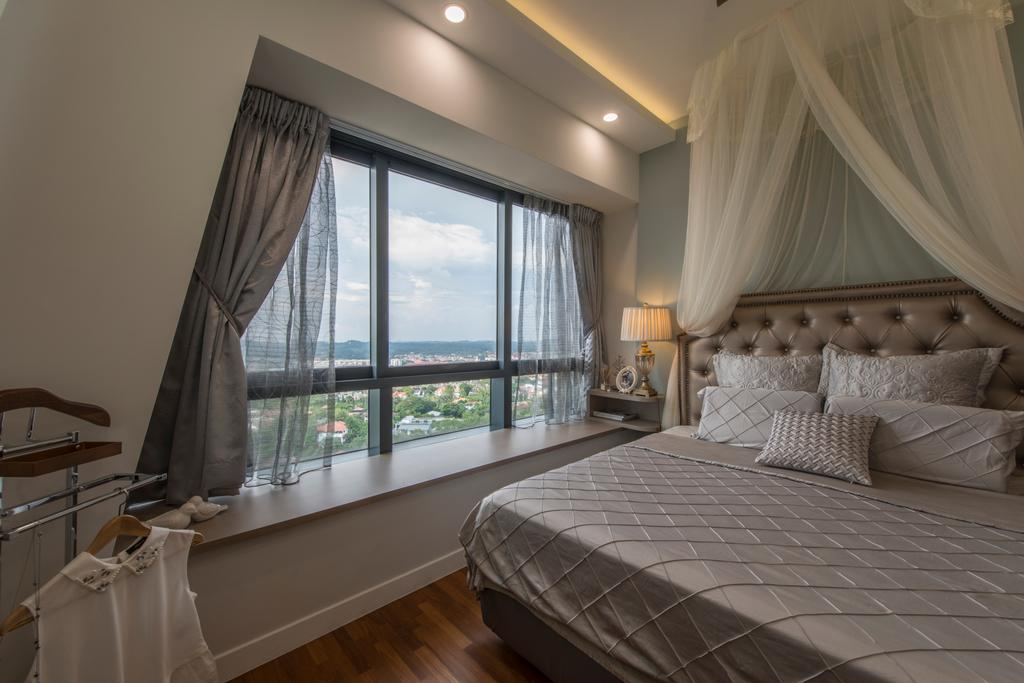 Scandinavian, Condo, Bedroom, D'Leedon, Interior Designer, Arc Square, Bay Window, Sheer Curtain, Bed Drapes, Bed Canopy, Grey, Grey Colour, Grey Furniture