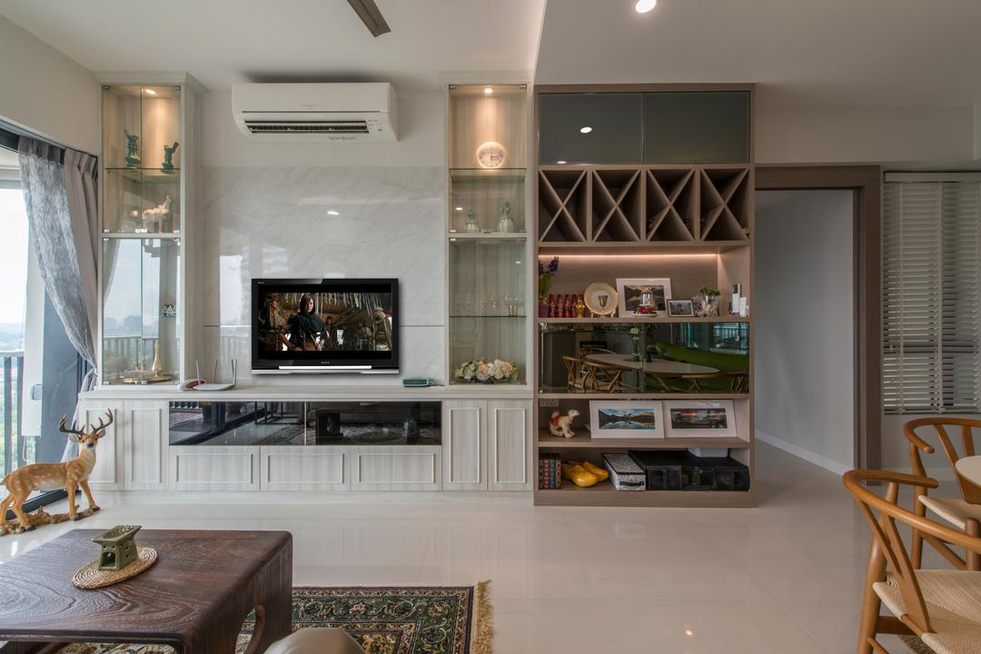 D'Leedon, Arc Square, Scandinavian, Living Room, Condo, Tv Cabinet, White Cabinet, Tv Console, Aircon, Display Cabinet, Cabinetry, Photo Frames, Coffee Table, Shelf, Shelves