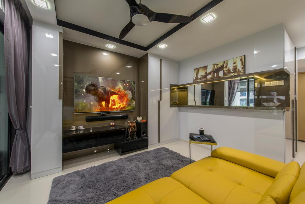 Transitional, Condo, Living Room, Twin Waterfalls, Interior Designer, Arc Square, Tv Console, Floating Console, Downlight, Carpet, Grey Carpet, Wall Mounted Tv, Painting