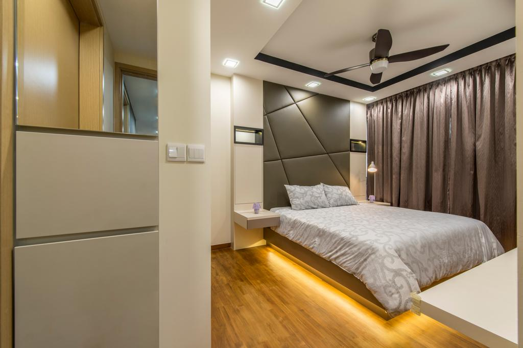 Transitional, Condo, Bedroom, Twin Waterfalls, Interior Designer, Arc Square, Headboard, Wood Floor, Wooden Flooring, Ceiling Fan With Lamp, Curtain, Bedside Table, Cove Lighting