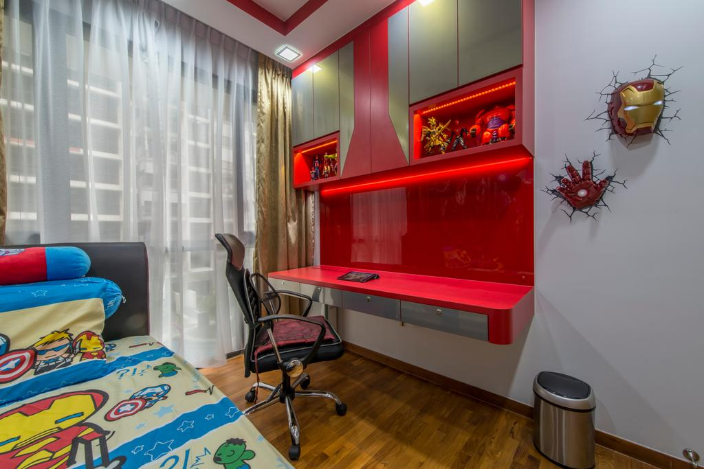 Transitional, Condo, Bedroom, Twin Waterfalls, Interior Designer, Arc Square, Iron Man, Superheroes, Kids Room, Study Table, Office Chair, Red, Red Table, Red Cabinet, Top Cabinet, Bin