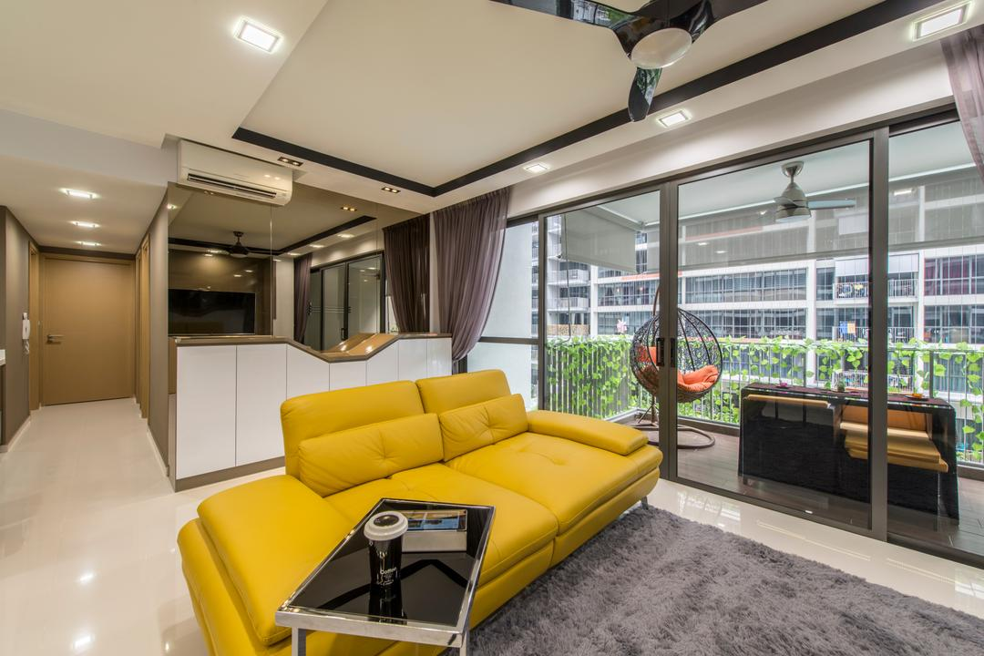 Twin Waterfalls, Arc Square, Transitional, Living Room, Condo, Sofa, Yellow Sofa, Two Seater, Coffee Table, Small Coffee Table, Carpet, Grey Carpet, Ceiling Fan With Lamp, Sliding Door, Balcony Door, Balcony Furniture, Swing Chair, Aircon, Reflective Panel
