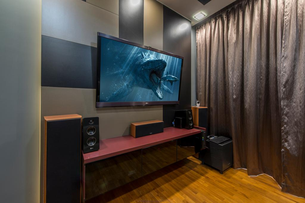 Transitional, Condo, Bedroom, Twin Waterfalls, Interior Designer, Arc Square, Floating Console, Tv Console, Wall Mounted Tv, Speaker, Dark Room