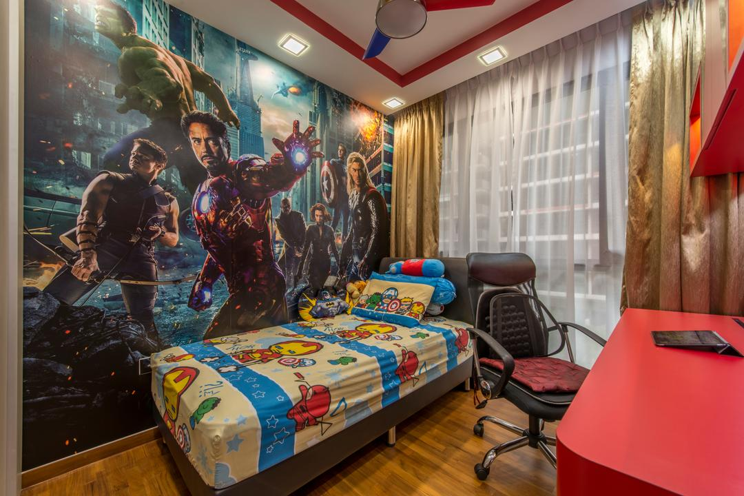Twin Waterfalls, Arc Square, Transitional, Bedroom, Condo, Wallpaper, Superheroes, Avengers, Kid, Kids Rooms, Children, Ceiling Fan With Lamp, Office Chair, Red Table, Single Bed