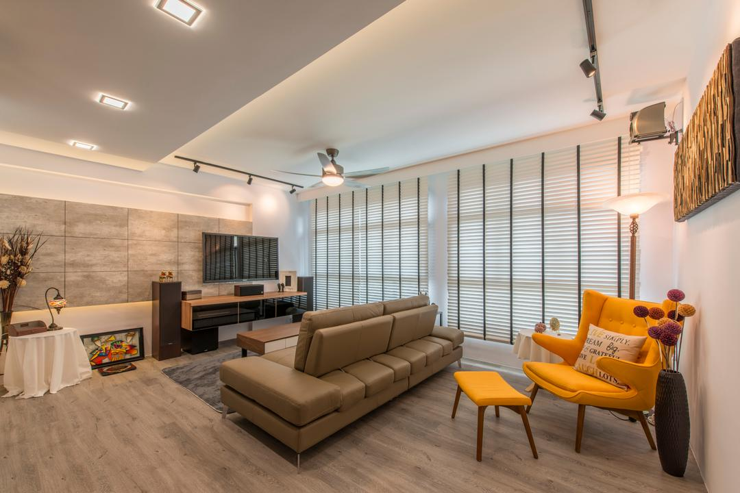 Tampines (Block 871C), Arc Square, Scandinavian, Living Room, HDB, Wood Floor, Wooden Flooring, Light Wood Flooring, Blinds, Venetian Blinds, Painting, Yellow Chair, Light Wood, Wood Grain, Warm Lighting