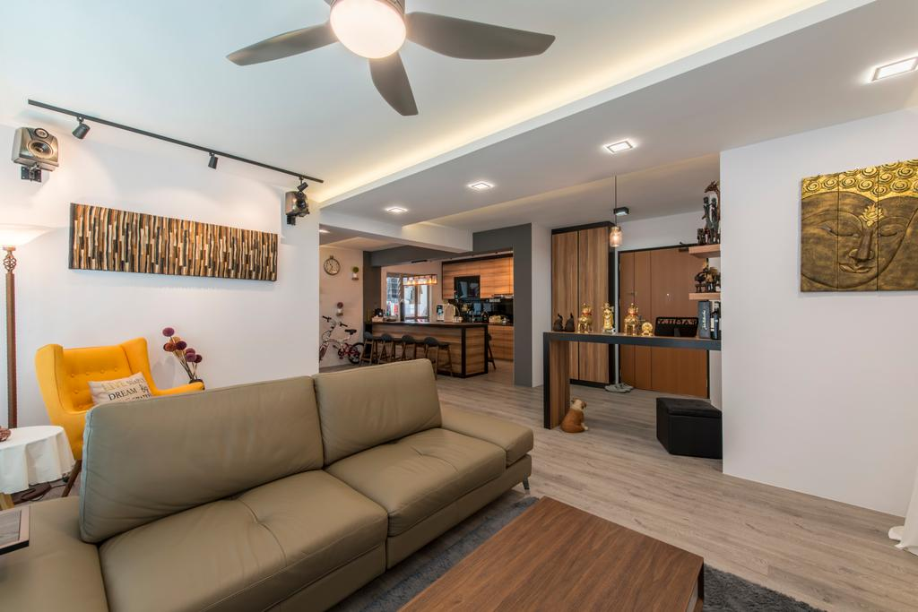 Scandinavian, HDB, Living Room, Tampines (Block 871C), Interior Designer, Arc Square, Ceiling Fan With Lamp, Sofa, Leather Sofa, Two Seater Sofa, Painting, Wall Decor, Wall Art, Downlight, Cove Lighting, Track Lighting, Wood Floor, Light Wood Flooring