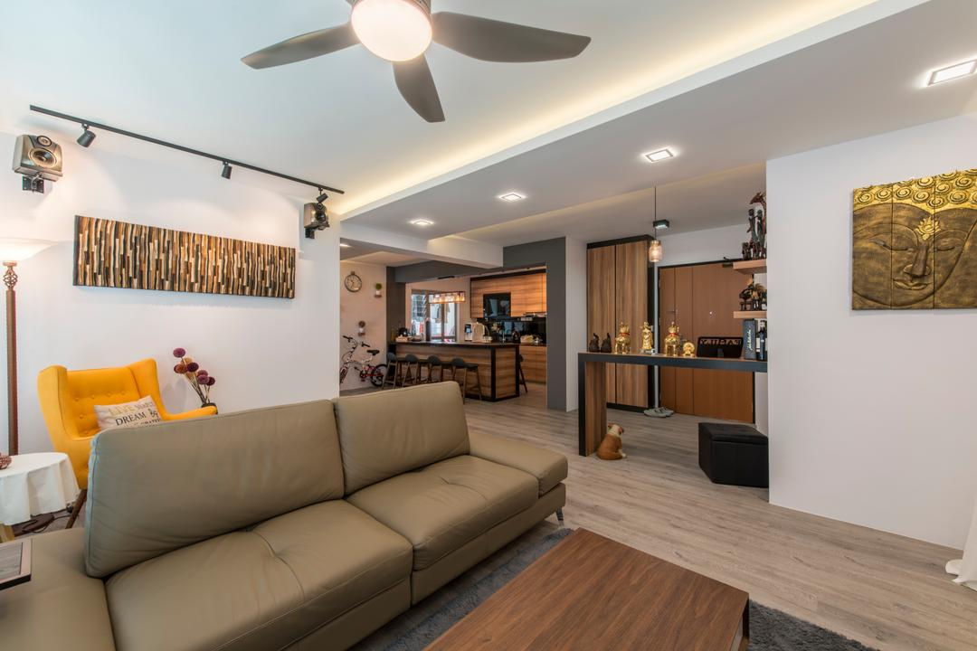 Tampines (Block 871C), Arc Square, Scandinavian, Living Room, HDB, Ceiling Fan With Lamp, Sofa, Leather Sofa, Two Seater Sofa, Painting, Wall Decor, Wall Art, Downlight, Cove Lighting, Track Lighting, Wood Floor, Light Wood Flooring