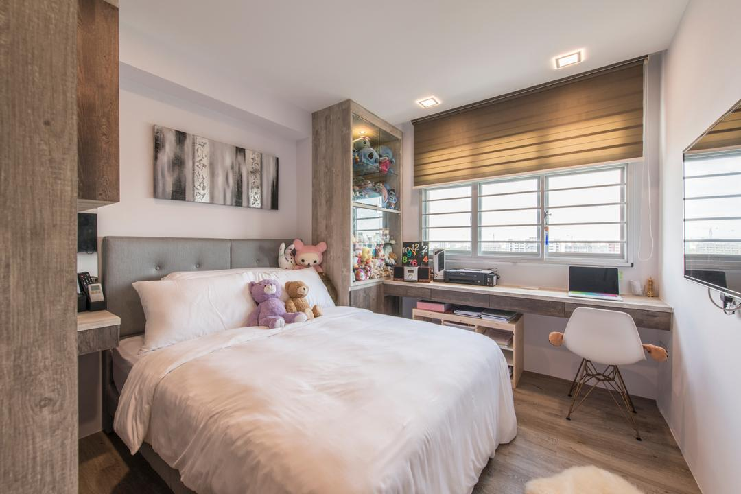 Tampines (Block 871C), Arc Square, Scandinavian, Bedroom, HDB, White Bed, Blinds, Roller Blinds, Headboard, Grey Headboard, Chair, Wall Ledge, Floating Table, Study Area, Work Area, Display Cabinet, Toys, Collection, Painting
