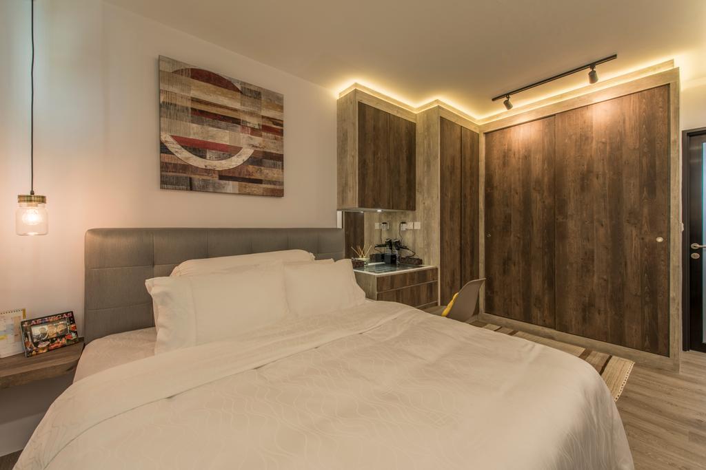 Scandinavian, HDB, Bedroom, Tampines (Block 871C), Interior Designer, Arc Square, Warm Lighting, Simple Room, Simple Bedroom, Clean Colours, Clean, Concealed Lighting, Pendant Lamp, Hanging Lamp