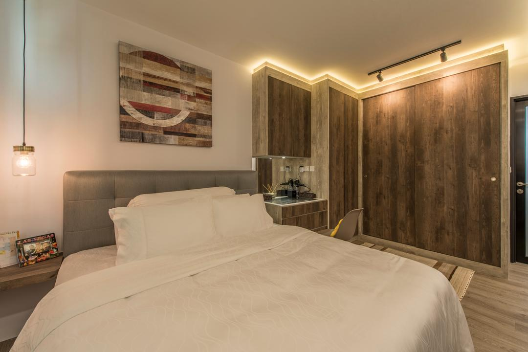 Tampines (Block 871C), Arc Square, Scandinavian, Bedroom, HDB, Warm Lighting, Simple Room, Simple Bedroom, Clean Colours, Clean, Concealed Lighting, Pendant Lamp, Hanging Lamp