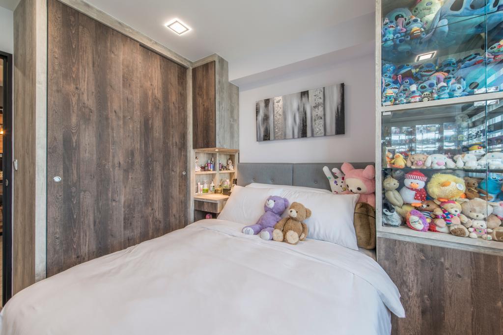 Scandinavian, HDB, Bedroom, Tampines (Block 871C), Interior Designer, Arc Square, Cabinet, Wood Laminate, Dark Wood Laminate, Toys, Plush Toys, Plushies, Collection, Display Cabinet