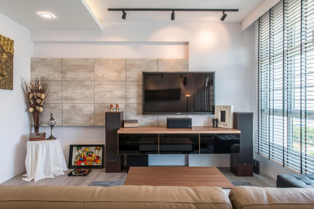 Scandinavian, HDB, Living Room, Tampines (Block 871C), Interior Designer, Arc Square, Feature Wall, Wall Mounted Tv, Tv Console, Floating Console, Speaker, Small Table, Flowers, Plants, Plant Decor, Track Lighting, Photo Frame