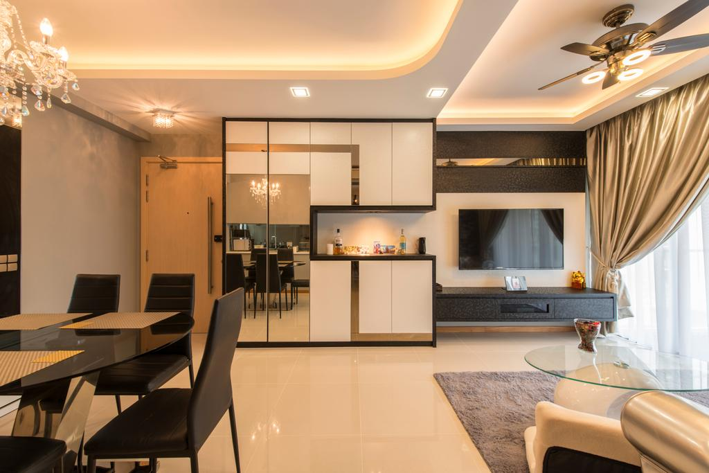 Modern, Condo, Living Room, Treasure Trove, Interior Designer, Arc Square, Mirror Panels, Cove Lighting, Concealed Lighting, Cabinetry, Bright, Simple Colours, Basic Colours