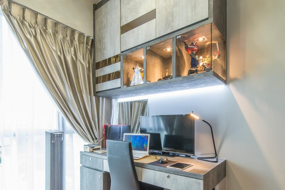 Treasure Trove, Arc Square, Modern, Study, Condo, Top Cabinet, Under Cabinet Lighting, Table Lamp, Chair, Study Table, Work Desk, Work Station, Laptop, Standing Aircon