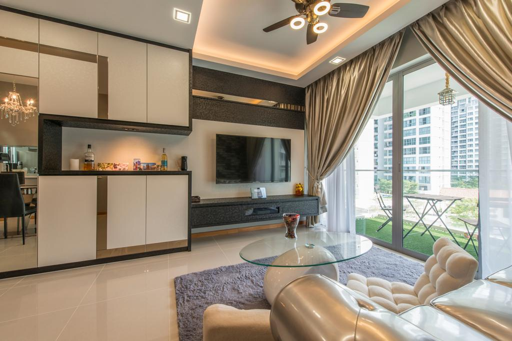 Modern, Condo, Living Room, Treasure Trove, Interior Designer, Arc Square, Round Coffee Table, Glass Table, Sofa, Glossy Sofa, White Sofa, Lounge Chair, Carpet, Grey Carpet, Ceiling Fan With Lighting, False Ceiling, Cove Lighting, Floating Console, Tv Console, Lame Curtains, Glossy Curtains, Cabinetry, White Cabinet