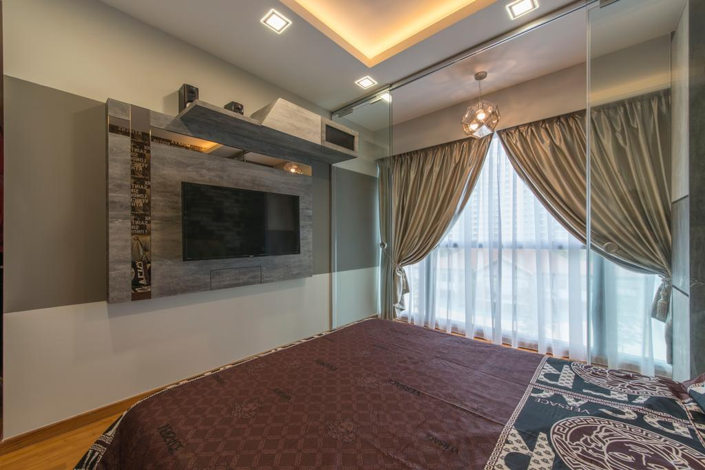 Modern, Condo, Bedroom, Treasure Trove, Interior Designer, Arc Square, Feature Wall, Wall Mounted Tv, Wall Shelf, Curtains, Gold Curtains