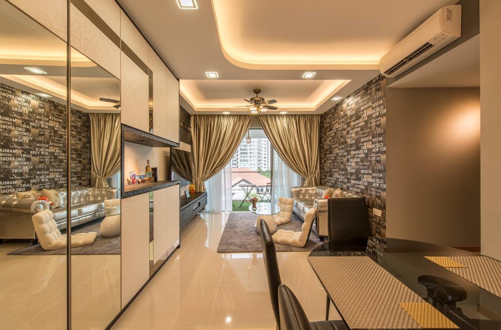 Modern, Condo, Dining Room, Treasure Trove, Interior Designer, Arc Square, Feature Wall, Brick Wallpaper, Cabinetry, Mirror Panels, Warm Lighting, False Ceiling