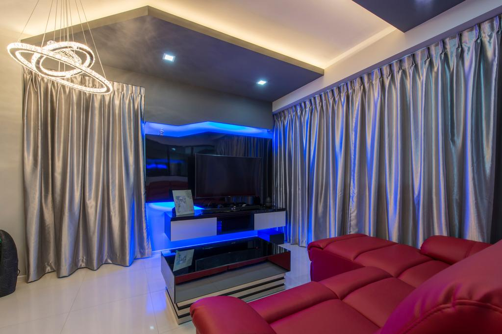 Modern, HDB, Living Room, Punggol Walk (Block 310A), Interior Designer, Arc Square, Glossy Curtains, Lame Curtains, Lame Material, Tv Console, Floating Console, Rectangular Coffee Table, Futuristic, Cove Lighting, Hanging Lamp
