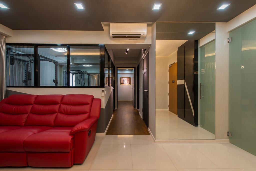 Modern, HDB, Living Room, Punggol Walk (Block 310A), Interior Designer, Arc Square, Mirror, Full Length Mirror, Mirror Panels, Half Hack, Corridor, Hallway, Walkway, Aircon