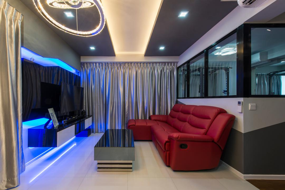 Punggol Walk (Block 310A), Arc Square, Modern, Living Room, HDB, Red Sofa, Leather Sofa, Red Leather Sofa, L Shaped Sofa, Coffee Table, False Ceiling, Downlight
