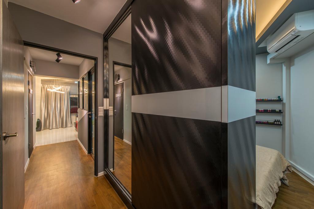 Modern, HDB, Bedroom, Punggol Walk (Block 310A), Interior Designer, Arc Square, Partition, Mirror, Full Length Mirror, Hallway, Corridor, Walkway, Floor, Wood Floor, Wooden Flooring, Aircon
