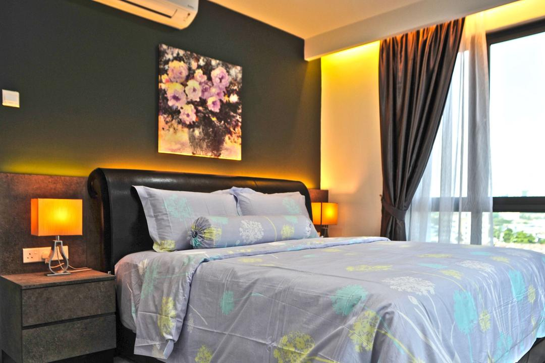 The Resident - Ampang South, Spazio Design Sdn Bhd, Contemporary, Modern, Bedroom, Condo, Bed, Furniture, Home Decor, Quilt