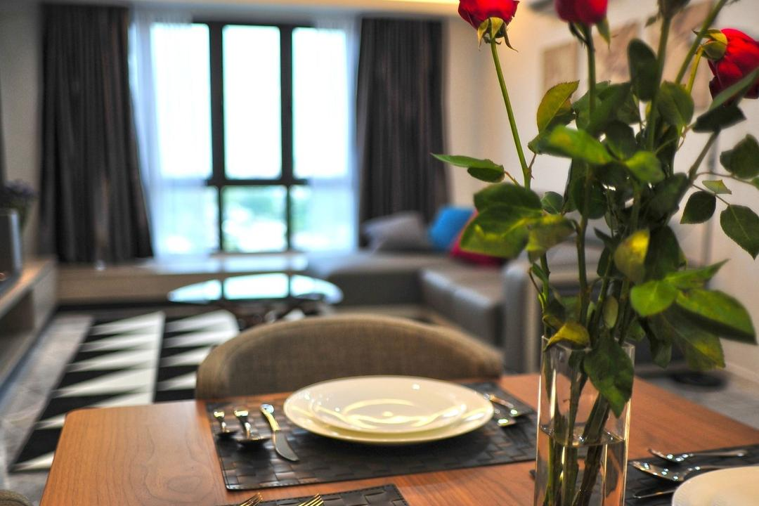 The Resident - Ampang South, Spazio Design Sdn Bhd, Contemporary, Modern, Dining Room, Condo, Flora, Jar, Plant, Potted Plant, Pottery, Vase, Cutlery, Fork, Indoors, Interior Design, Room, Dining Table, Furniture, Table