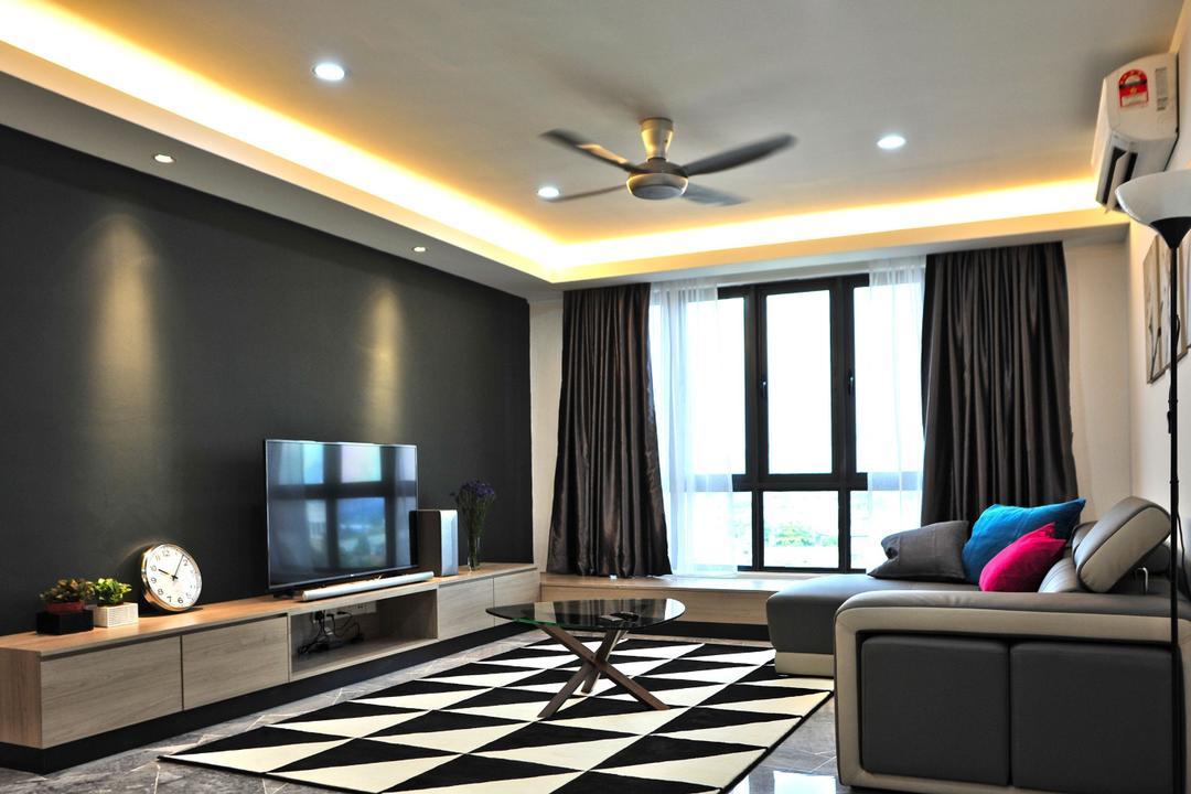 The Resident - Ampang South, Spazio Design Sdn Bhd, Contemporary, Modern, Living Room, Condo, Indoors, Room, Flooring, Window, Carpet, Home Decor, Interior Design