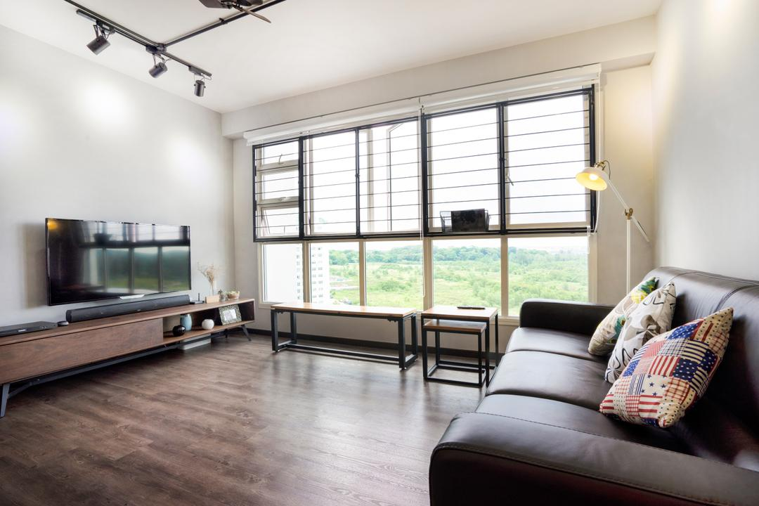Edgefield Plains (Block 670B), Cozy Ideas Interior Design, Scandinavian, Living Room, HDB, Wood Floor, Wooden Flooring, Tv Cabinet, Tv Console, Leather Sofa, Black Leather Sofa, Cushion, Standing Lamp, Couch, Furniture, Door, Sliding Door