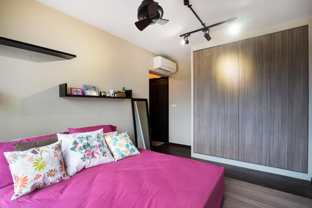 Edgefield Plains (Block 670B), Cozy Ideas Interior Design, Scandinavian, Bedroom, HDB, Wardrobe, Pink Bed, Indoors, Interior Design, Room