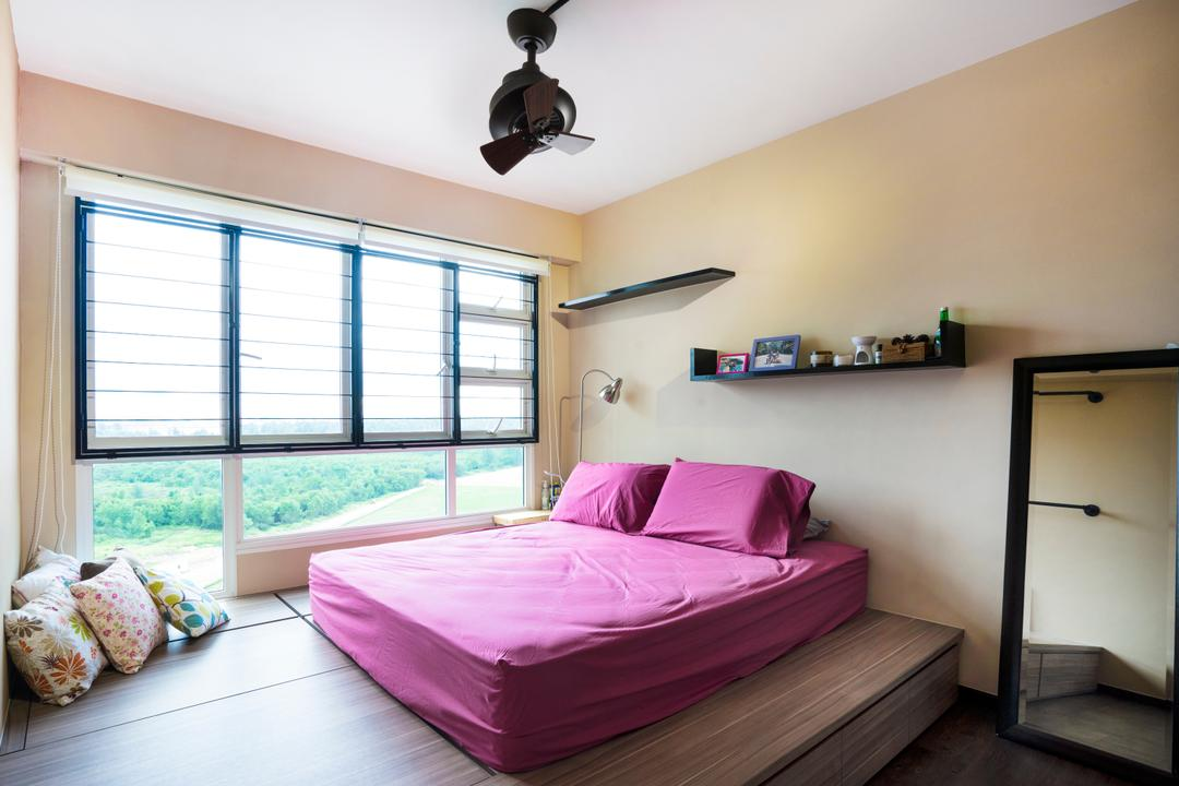 Edgefield Plains (Block 670B), Cozy Ideas Interior Design, Scandinavian, Bedroom, HDB, Platform, Raised Platform, Platform Bed, Ceiling Fan, Wall Shelf, Cushion, Pillow, Standing Mirror, Full Length Mirror, Pink, Pink Bed, Bed, Furniture, Indoors, Interior Design, Room