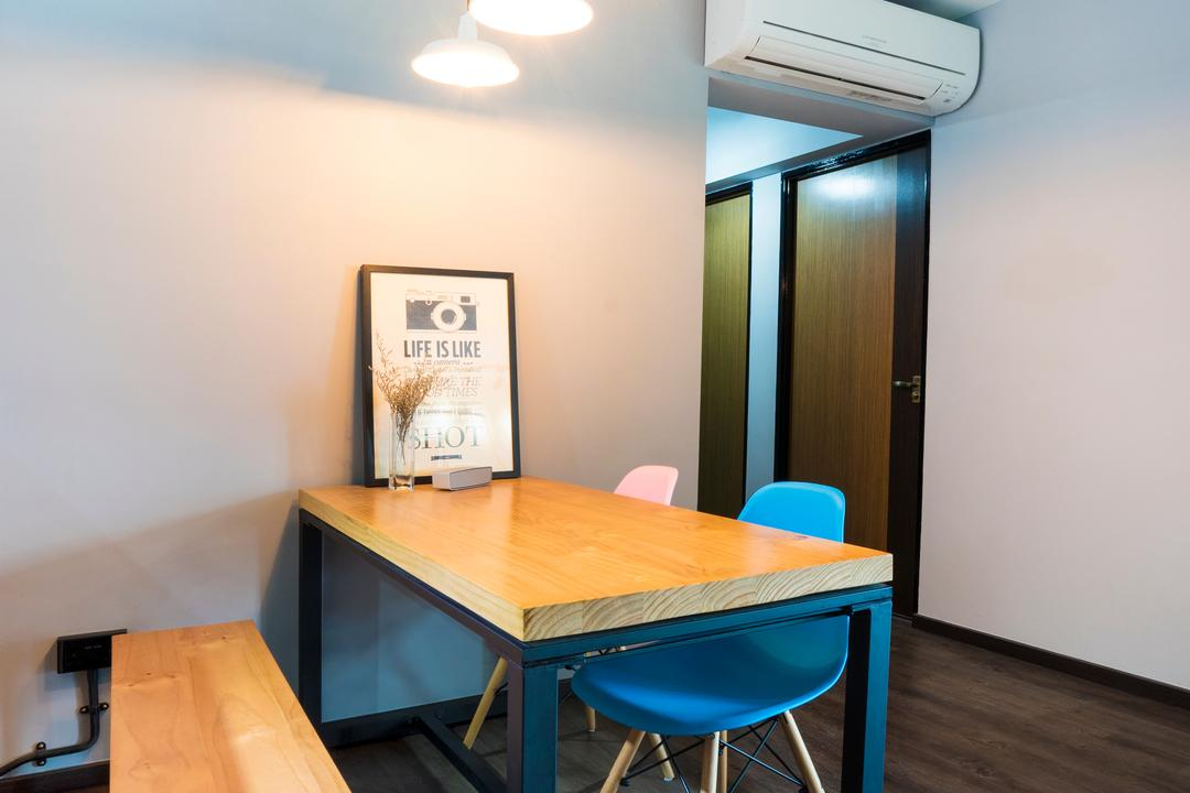 Edgefield Plains (Block 670B), Cozy Ideas Interior Design, Scandinavian, Dining Room, HDB, Dining Table, Wooden Bench, Bench, Photo Frame, Pendant Lamp, Hanging Lamp, Aircon, Chair, Furniture, Indoors, Room, Table, Interior Design