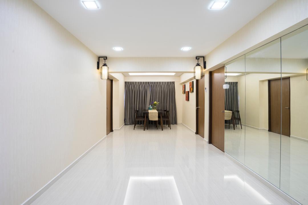 Bedok North Avenue 2, Cozy Ideas Interior Design, Contemporary, Dining Room, HDB, Spacious, Empty, Space, Mirror, Walkway, , Downlight, Corridor, Indoors, Interior Design, Door, Sliding Door, Curtain, Home Decor, Closet, Furniture, Wardrobe