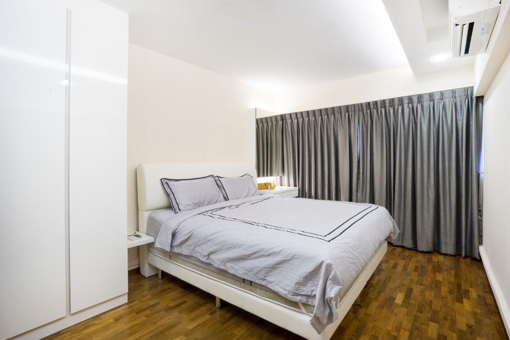 Contemporary, HDB, Bedroom, Bedok North Avenue 2, Interior Designer, Cozy Ideas Interior Design, Grey Curtain, Headboard, Cabinet, Wardrobe, Aircon, Wood Floor, Wooden Flooring, Bed, Furniture, Indoors, Interior Design, Room