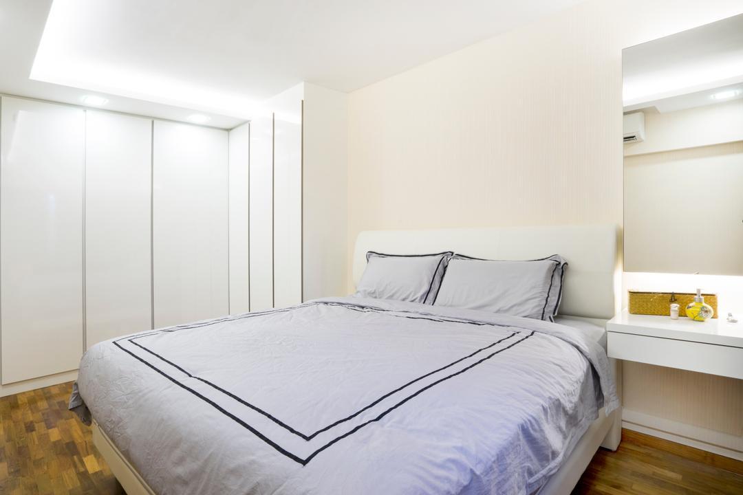 Bedok North Avenue 2, Cozy Ideas Interior Design, Contemporary, Bedroom, HDB, Dressing Table, Vanity Table, Mirror, Wardrobe, Bed, Furniture
