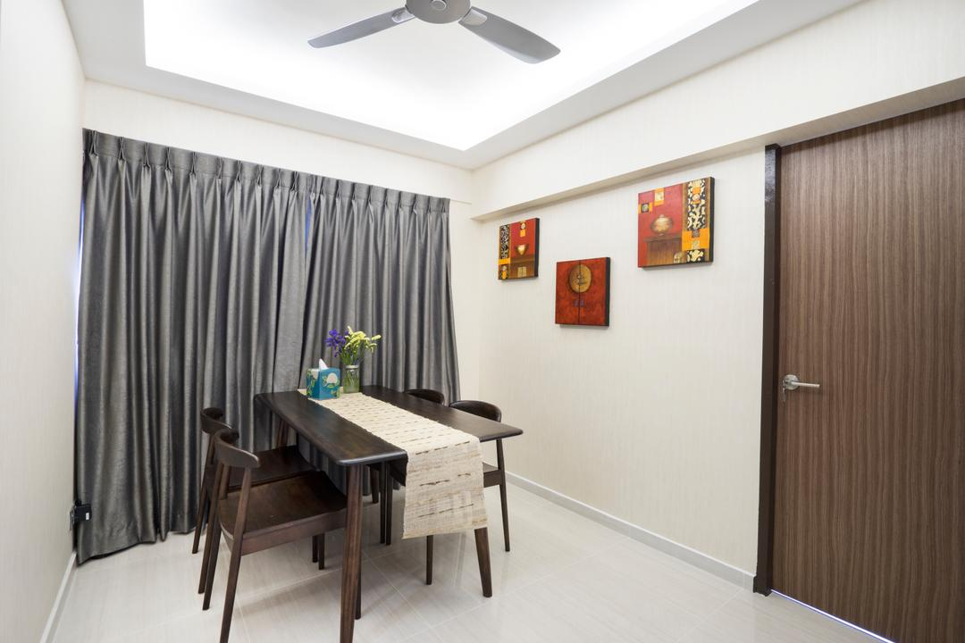 Bedok North Avenue 2, Cozy Ideas Interior Design, Contemporary, Dining Room, HDB, False Ceiling, Ceiling Fan, Cove Lighting, Dining Table, Table Runner, Dining Chairs, Grey Curtain, Door, Painting, Wall Decor, Wall Art, Furniture, Table, Chair, Architecture, Building, Skylight, Window