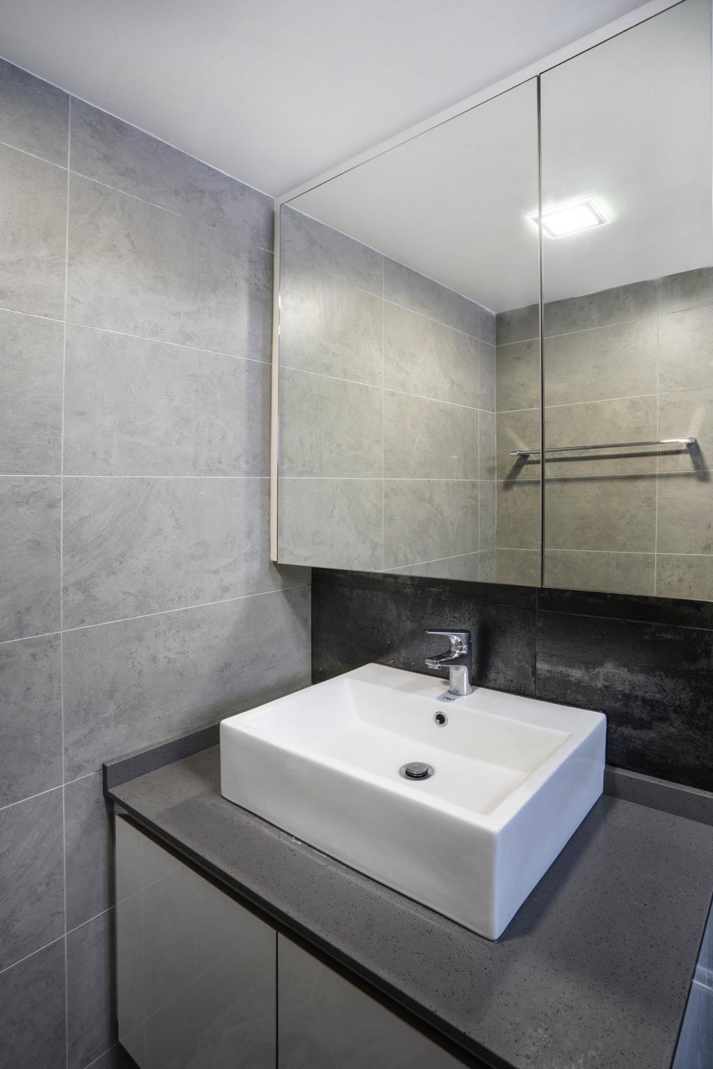Contemporary, HDB, Bathroom, Bedok North Avenue 2, Interior Designer, Cozy Ideas Interior Design, Bathroom Cabinet, Vessel Sink, Basin, Indoors, Interior Design, Room