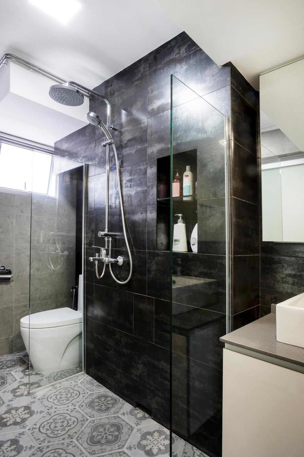 Contemporary, HDB, Bathroom, Bedok North Avenue 2, Interior Designer, Cozy Ideas Interior Design, Black Tiles, Black Wall Tiles, Rainshower, Patterned Floor Tiles, Indoors, Interior Design, Room