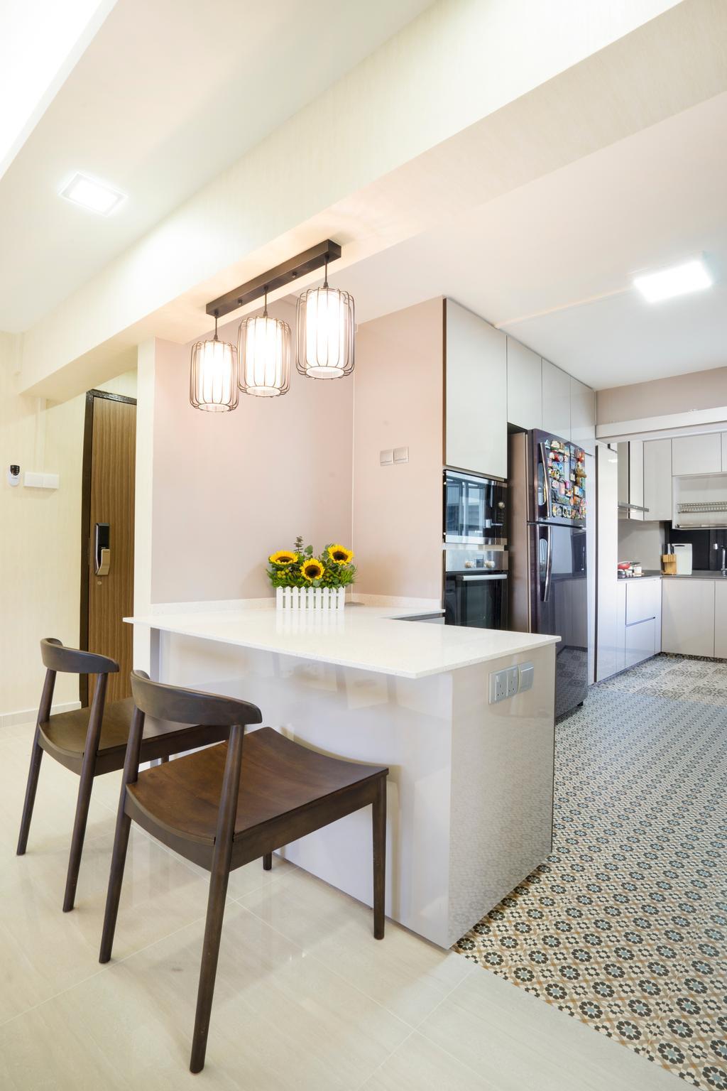 Contemporary, HDB, Kitchen, Bedok North Avenue 2, Interior Designer, Cozy Ideas Interior Design, Bar Stool, Furniture, Chair, Dining Room, Indoors, Interior Design, Room, Light Fixture