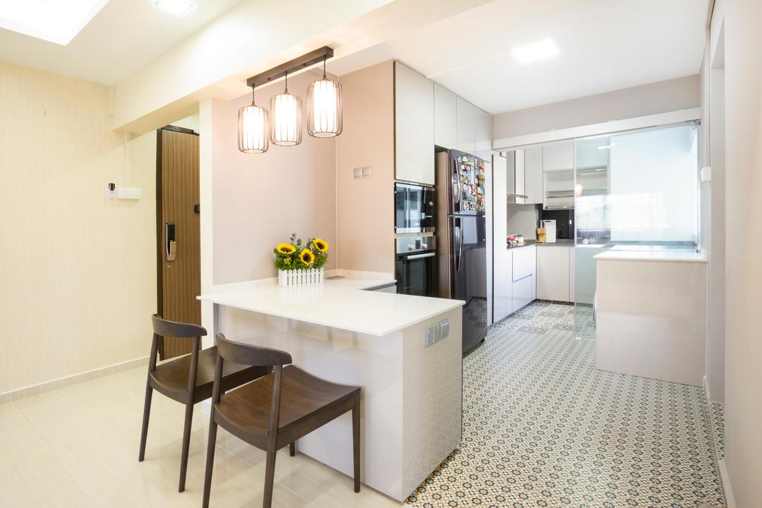 Bedok North Avenue 2, Cozy Ideas Interior Design, Contemporary, Kitchen, HDB, Kitchen Counter, Kitchen Countertop, White Countertop, Dining Chair, Chair, Pendant Lamp, Hanging Lamp, Floor Tiles, Kitchen Tiles, Patterned Tiles, Dining Table, Furniture, Table, Flooring, Indoors, Room