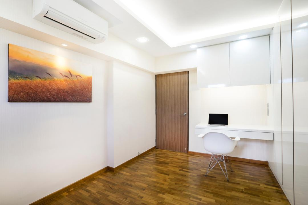 Bedok North Avenue 2, Cozy Ideas Interior Design, Contemporary, Study, HDB, White Chair, Study Table, White Cabinet, Painting, Wall Art, Wall Decor, Aircon, Downlight, Wood Floor, Wooden Flooring, Flooring