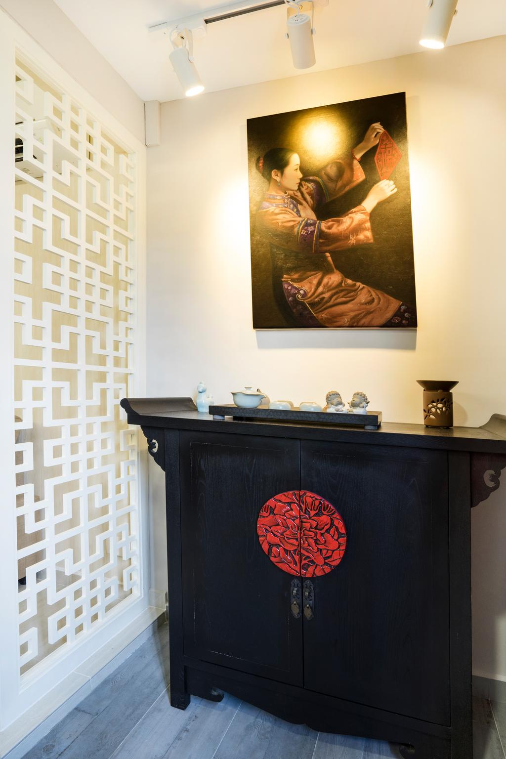 Contemporary, HDB, Living Room, Bedok North Avenue 2, Interior Designer, Cozy Ideas Interior Design, Side Cabinet, Side Board, Chinese, Oriental, Painting, Track Lighting, Partition, Human, People, Person, Fireplace, Hearth