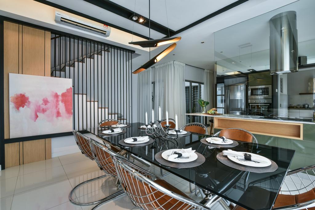 Modern, Landed, Dining Room, Kajang, Interior Designer, SQFT Space Design Management, Indoors, Interior Design, Room, Kitchen, Canvas, Chair, Furniture