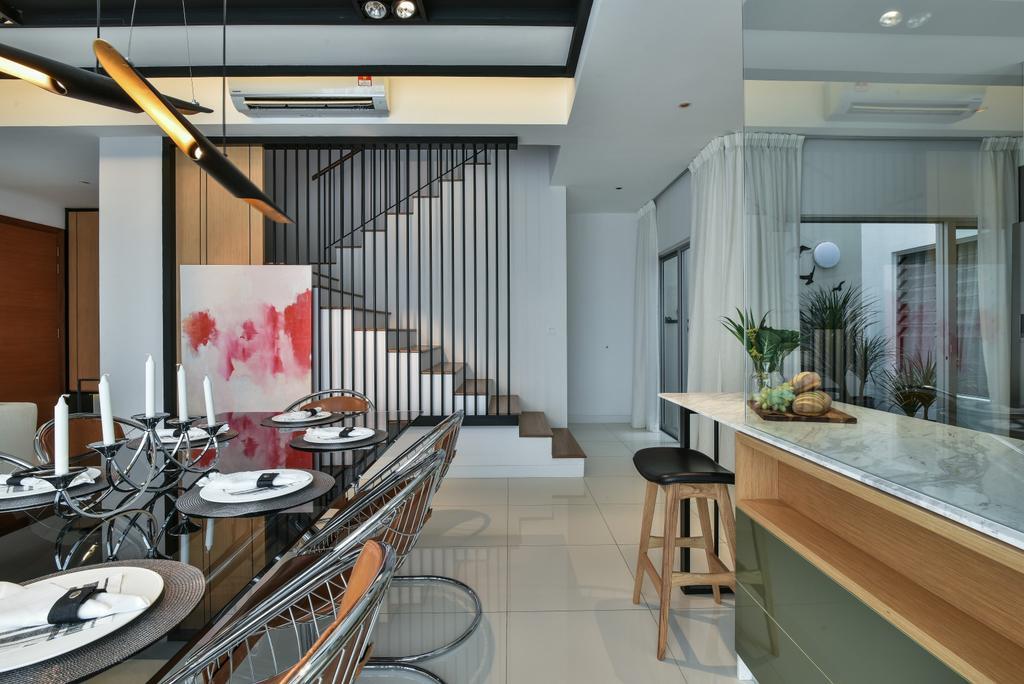 Modern, Landed, Kitchen, Kajang, Interior Designer, SQFT Space Design Management, Bar Stool, Furniture, Dining Room, Indoors, Interior Design, Room