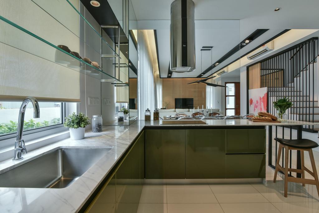 Modern, Landed, Kitchen, Kajang, Interior Designer, SQFT Space Design Management, Dining Table, Furniture, Table