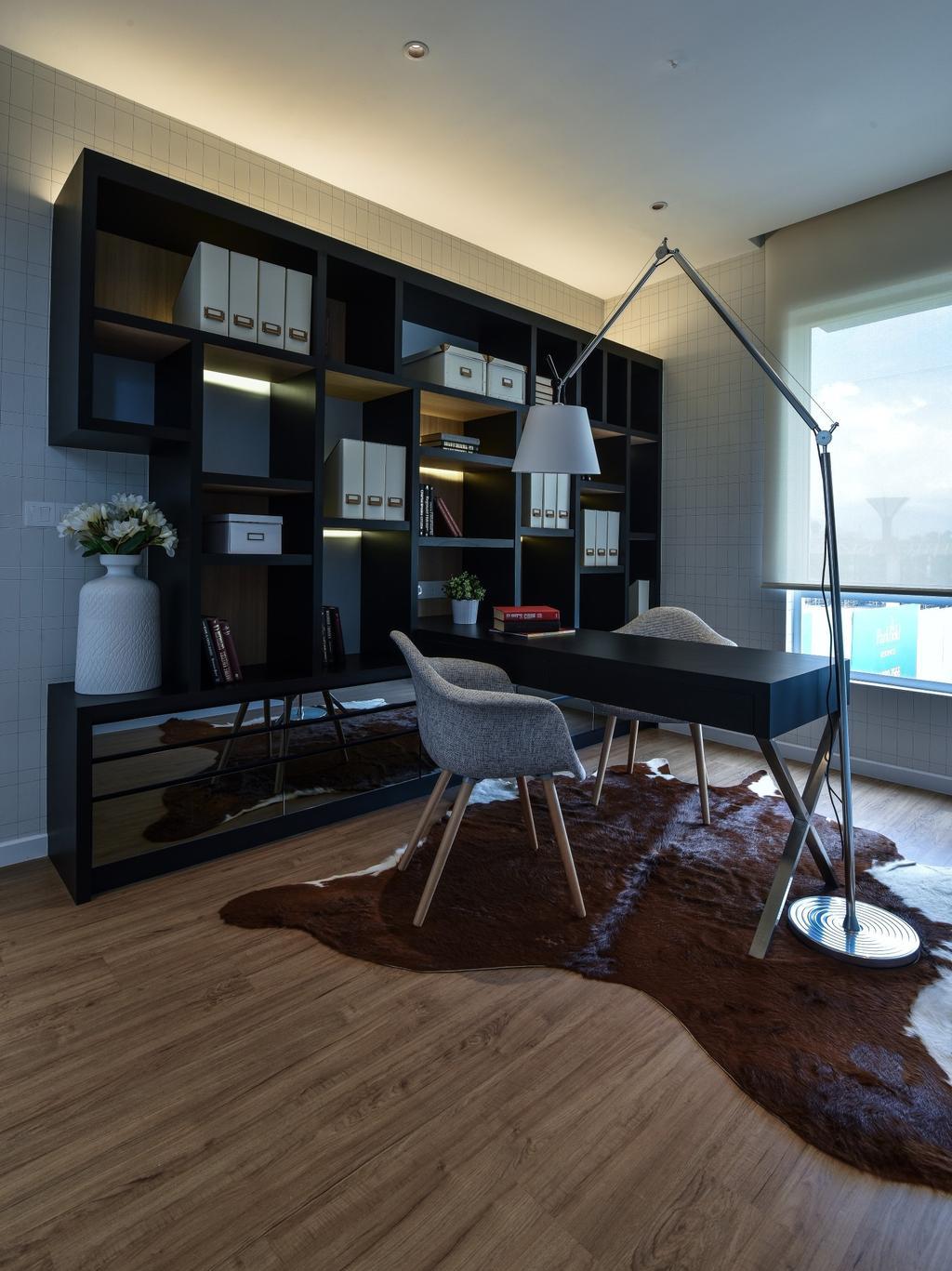 Modern, Landed, Study, Kajang, Interior Designer, SQFT Space Design Management, Chair, Furniture, Dining Room, Indoors, Interior Design, Room, Couch, Door, Sliding Door