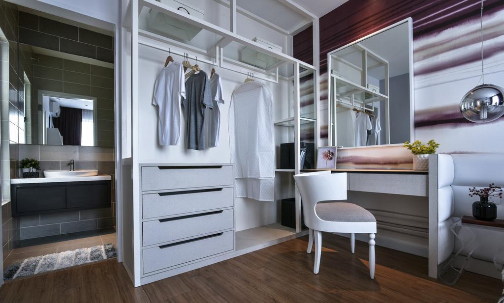 Modern, Landed, Bedroom, Kajang, Interior Designer, SQFT Space Design Management, Chair, Furniture, Closet